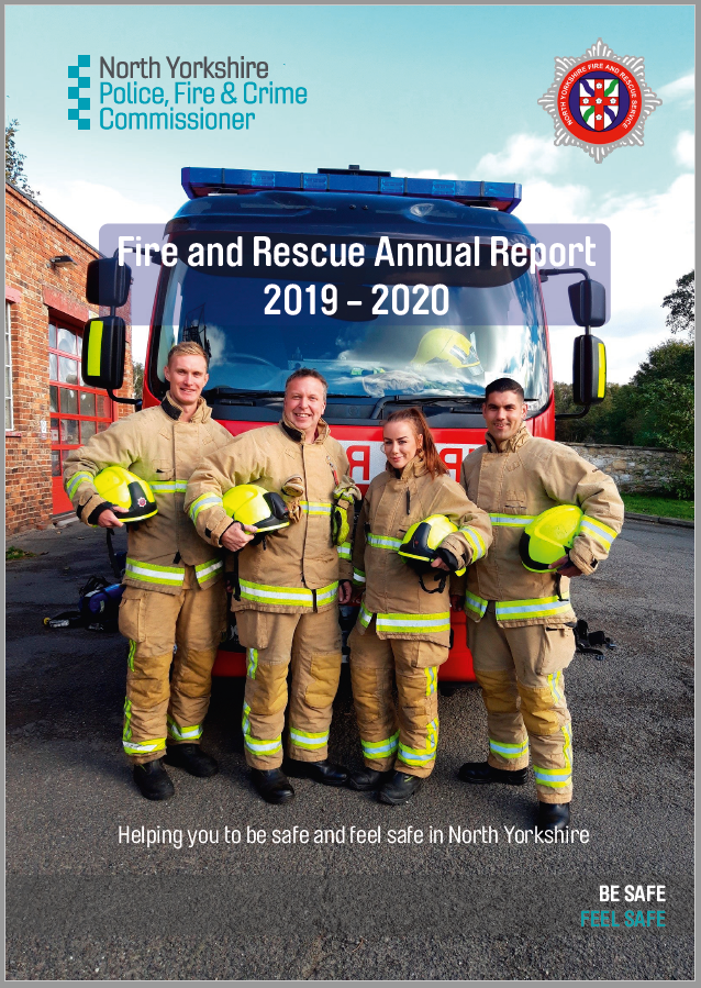 Fire and Rescue Annual Report front cover. Fire officers in front of fire engine