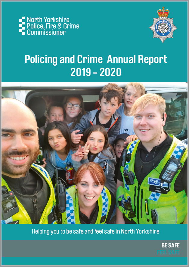 Policing and crime annual report - front cover. Tang Hall youth club members with local PCSOs