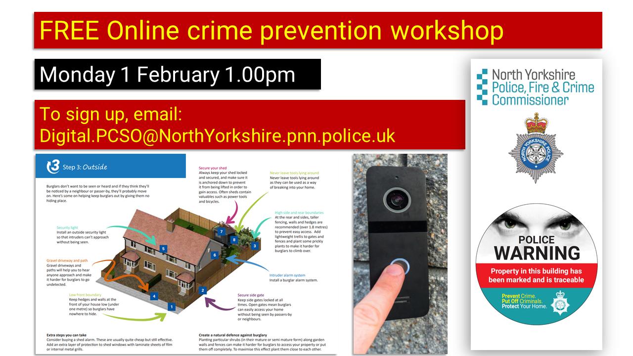 Online crime prevention workshop - Monday 1 February 1.00pm