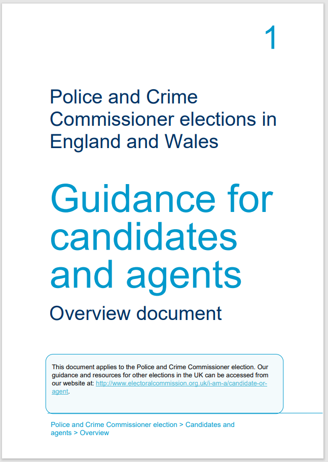 Electoral Commission - Guidance for candidates - An overview